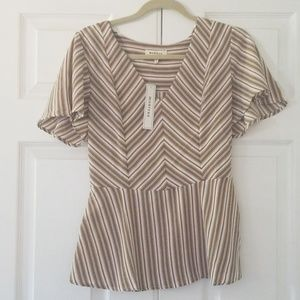 NWT Morneau cute womens blouse shirt L
